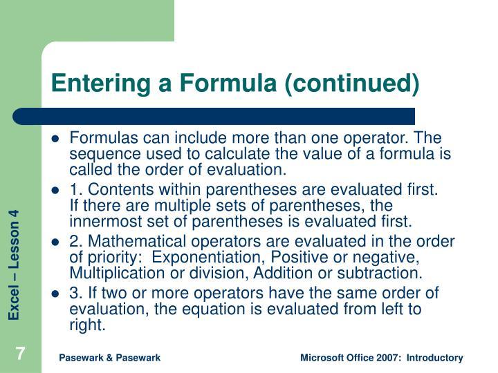 Entering a Formula (continued)