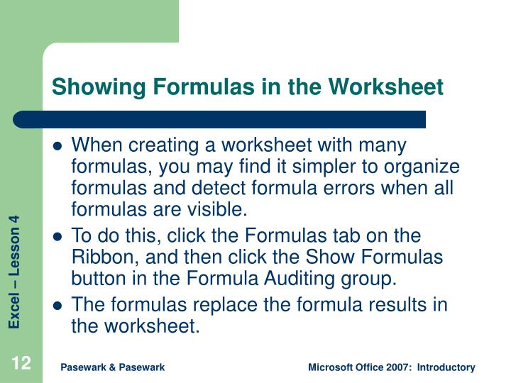 Showing Formulas in the Worksheet