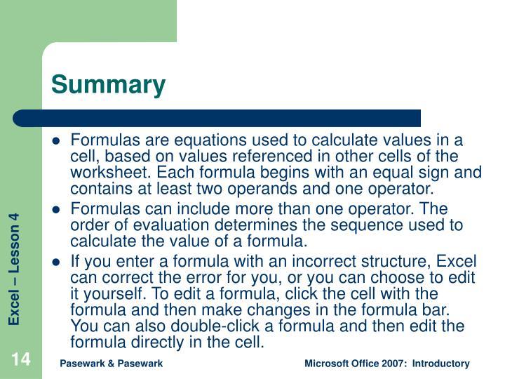 ppt excel lesson 4 entering worksheet formulas powerpoint presentation id 1191602. Black Bedroom Furniture Sets. Home Design Ideas