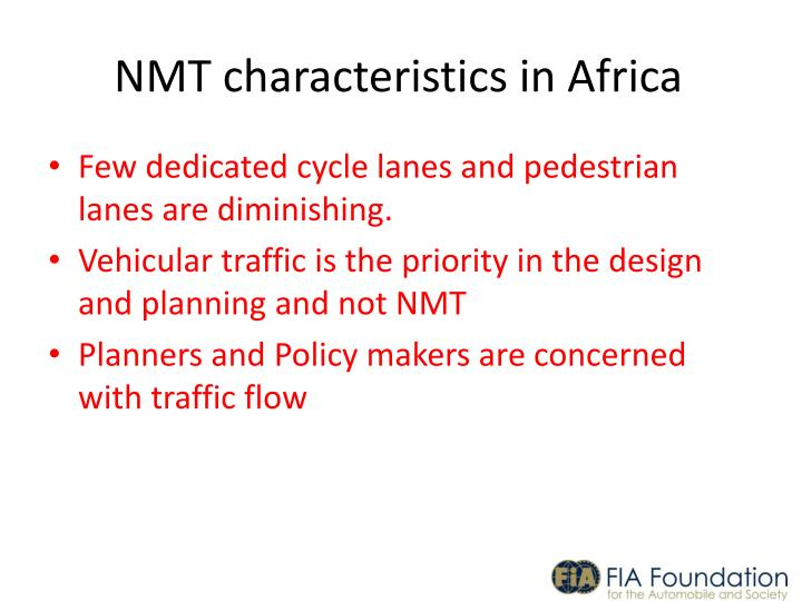 NMT characteristics in Africa