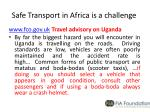 safe transport in africa is a challenge