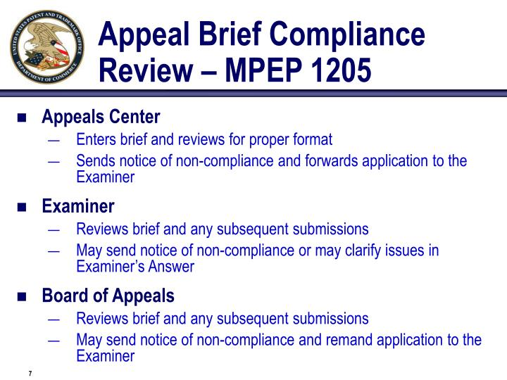 Appeal Brief Compliance Review – MPEP 1205