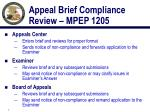 appeal brief compliance review mpep 1205