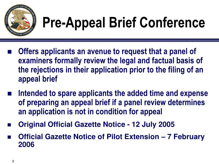 Pre appeal brief conference