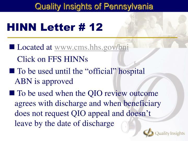 HINN Letter # 12