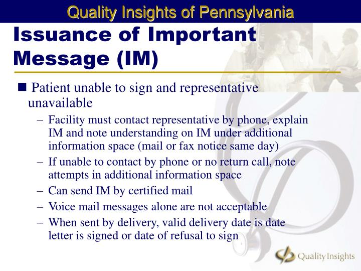 Issuance of Important Message (IM)