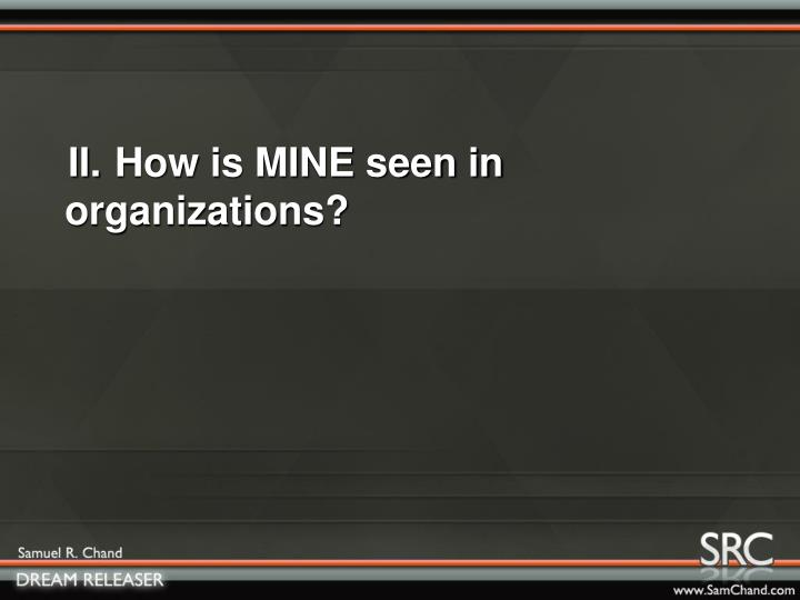 II.How is MINE seen in organizations?