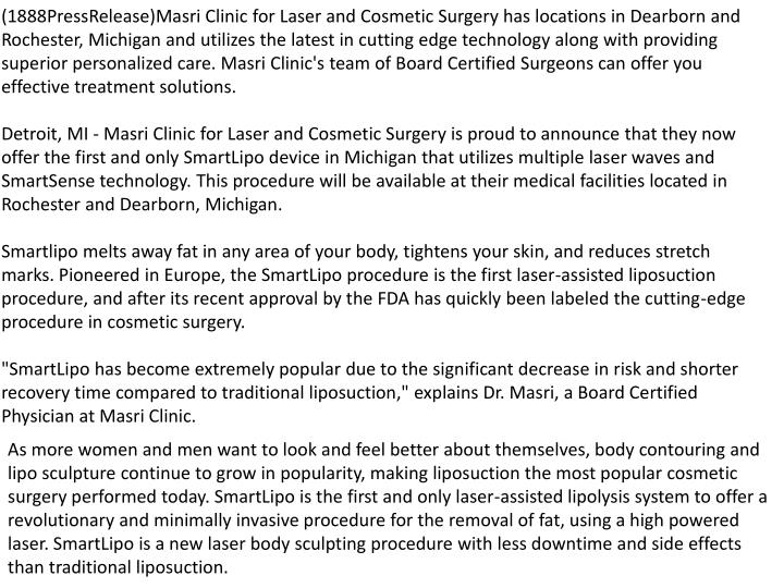 (1888PressRelease)Masri Clinic for Laser and Cosmetic Surgery has locations in Dearborn and Rocheste...