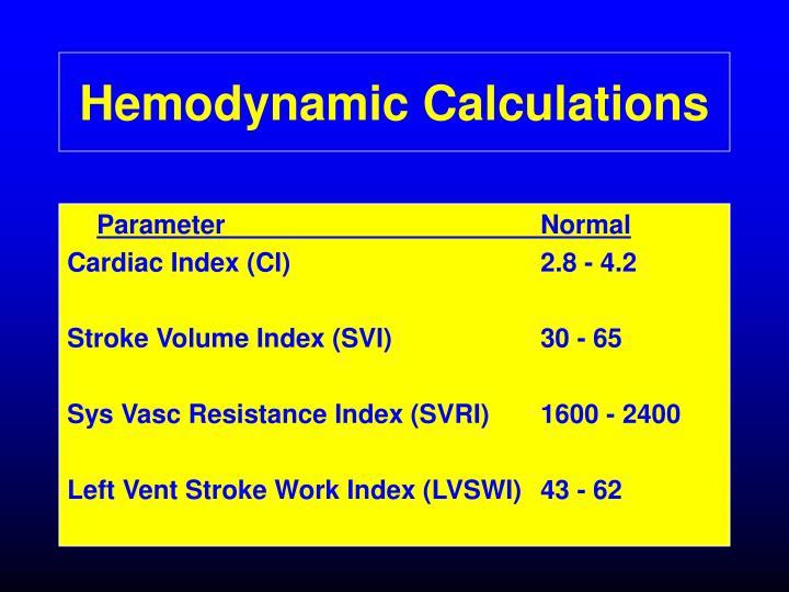 Hemodynamic Calculations
