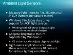 ambient light sensors