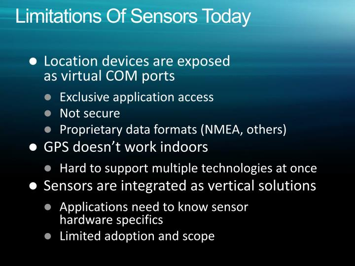 Limitations Of Sensors Today