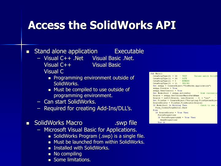 Access the SolidWorks API