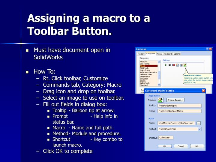 Assigning a macro to a Toolbar Button.