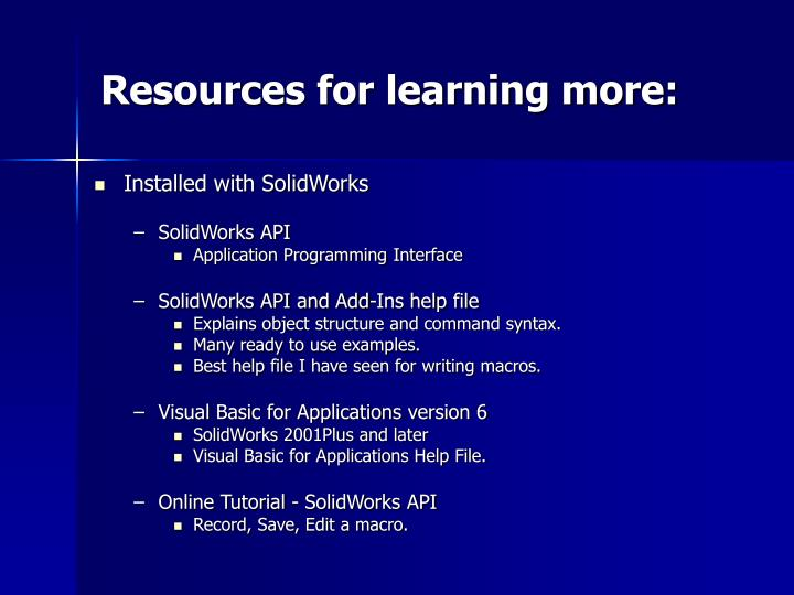 Resources for learning more: