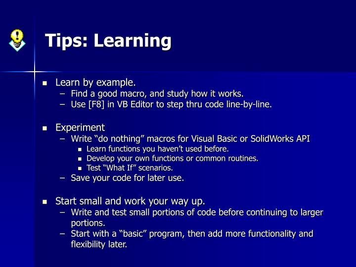 Tips: Learning
