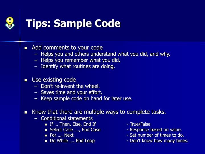 Tips: Sample Code