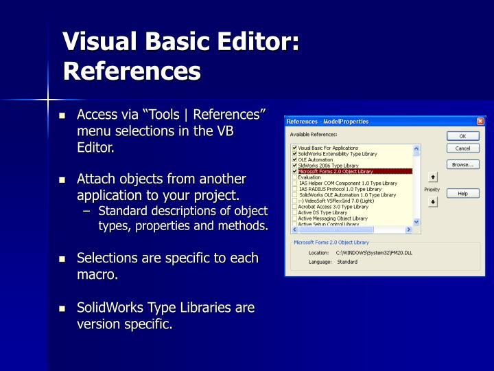 Visual Basic Editor: References