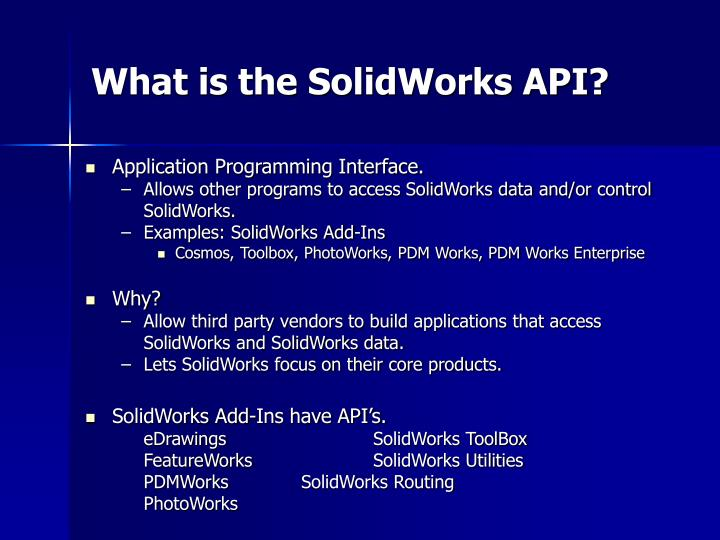 What is the SolidWorks API?