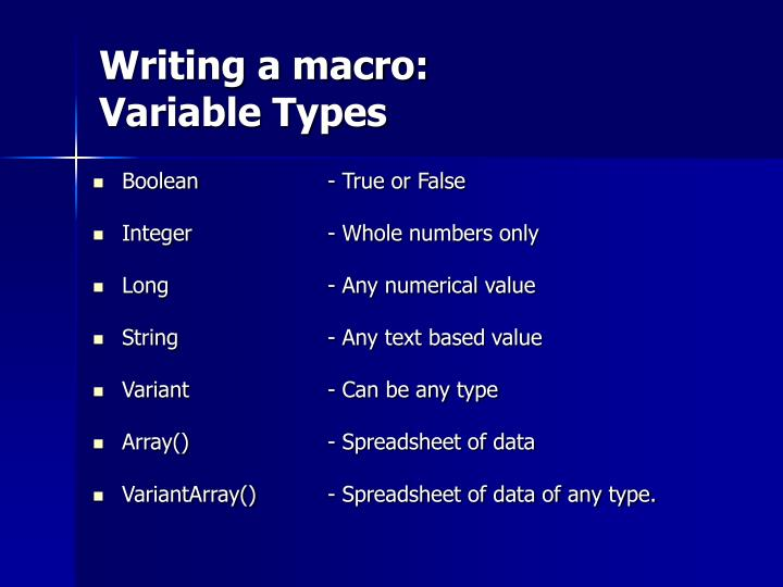Writing a macro: