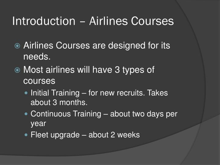 Introduction airlines courses