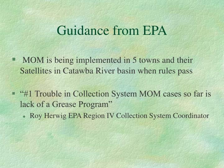 Guidance from EPA