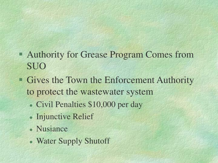 Authority for Grease Program Comes from SUO