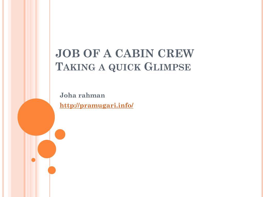 JOB OF A CABIN CREW