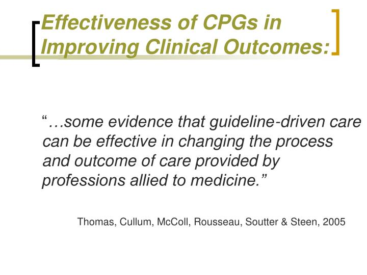 Effectiveness of CPGs in Improving Clinical Outcomes: