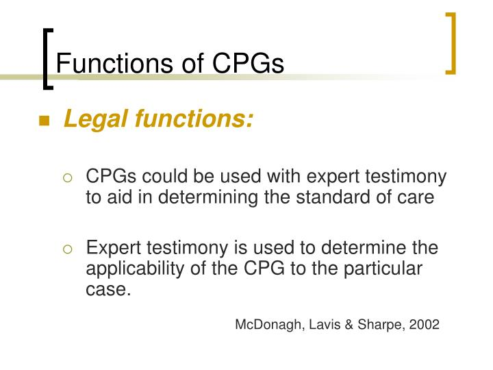 Functions of CPGs