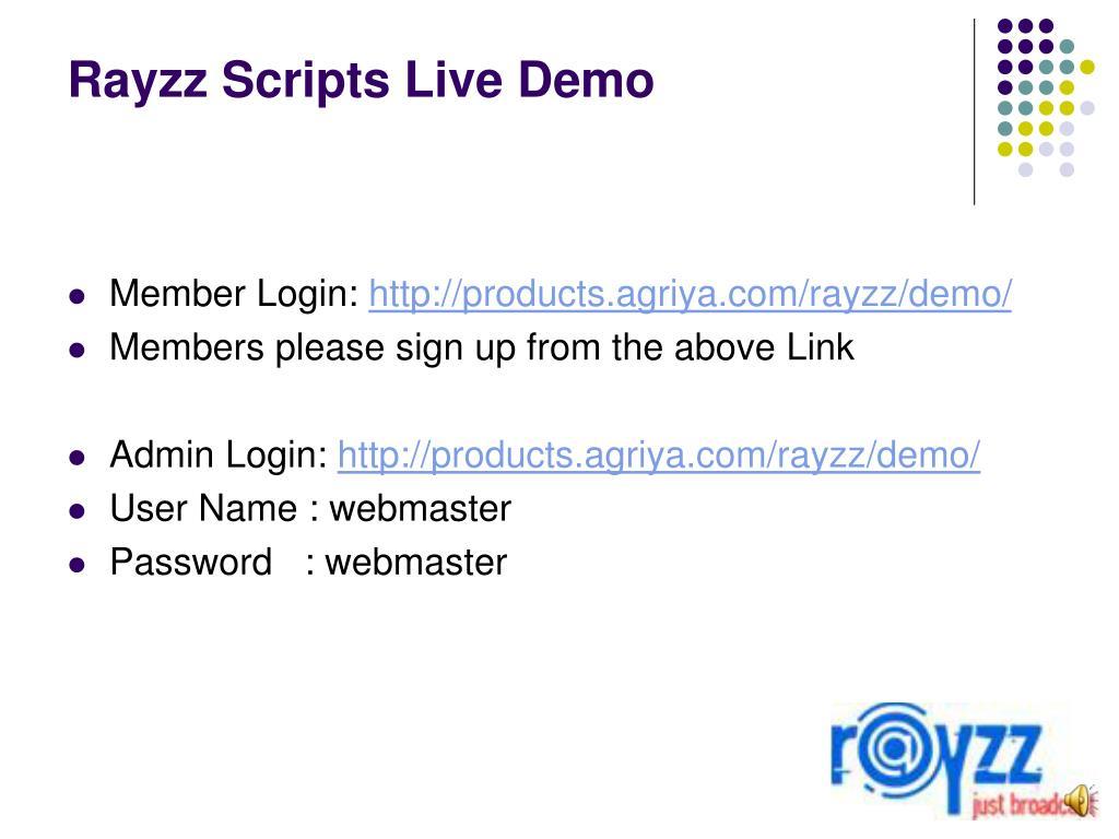 Rayzz Scripts Live Demo