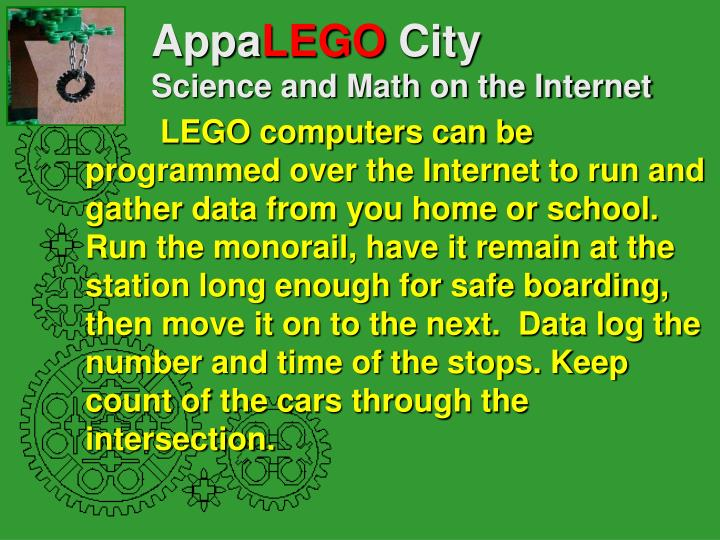 Appa lego city science and math on the internet