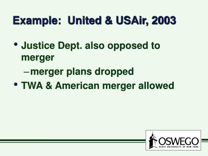 Example:  United & USAir, 2003