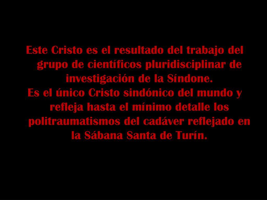 Este Cristo es el resultado del trabajo del grupo de científicos pluridisciplinar de investigación de la Síndone.