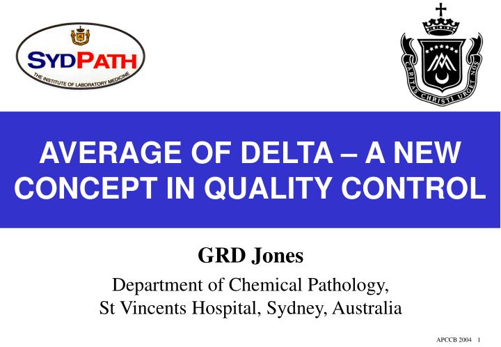 Average of delta a new concept in quality control