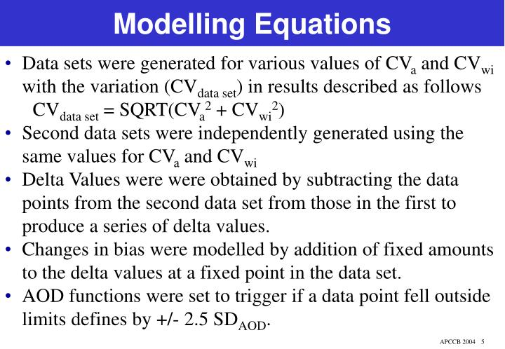 Modelling Equations