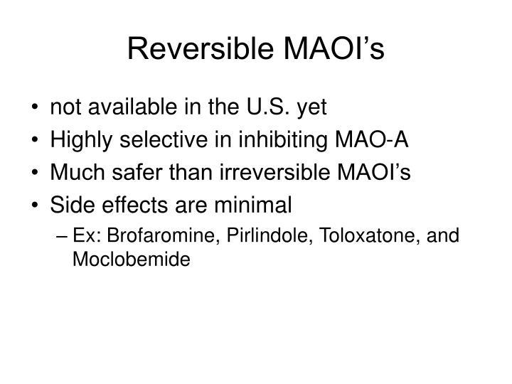 Reversible MAOI's