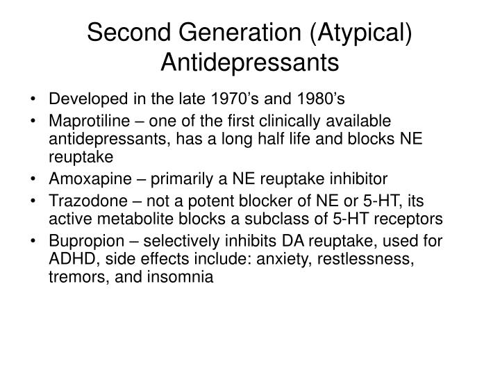 Second Generation (Atypical) Antidepressants