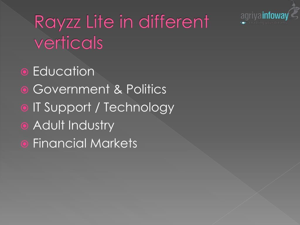 Rayzz Lite in different verticals