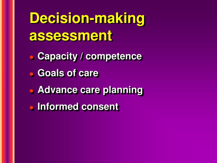 Decision-making assessment