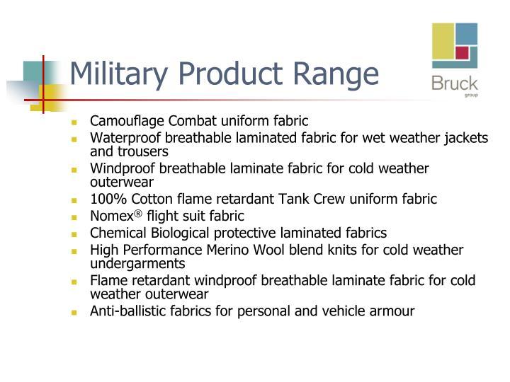 Military Product Range