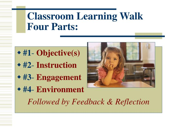 Classroom Learning Walk Four Parts: