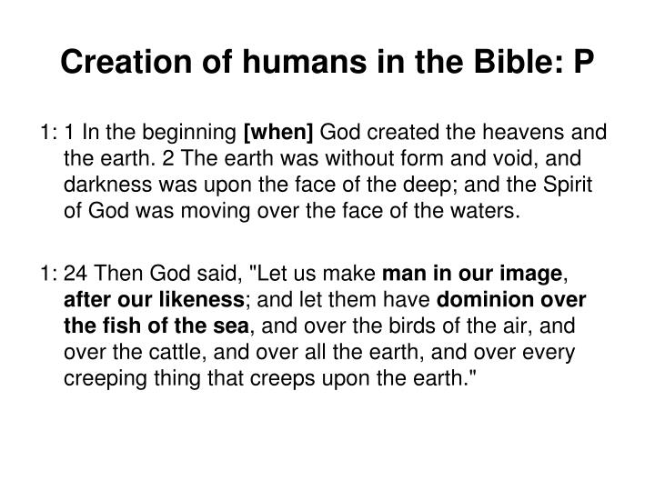 Creation of humans in the Bible: P