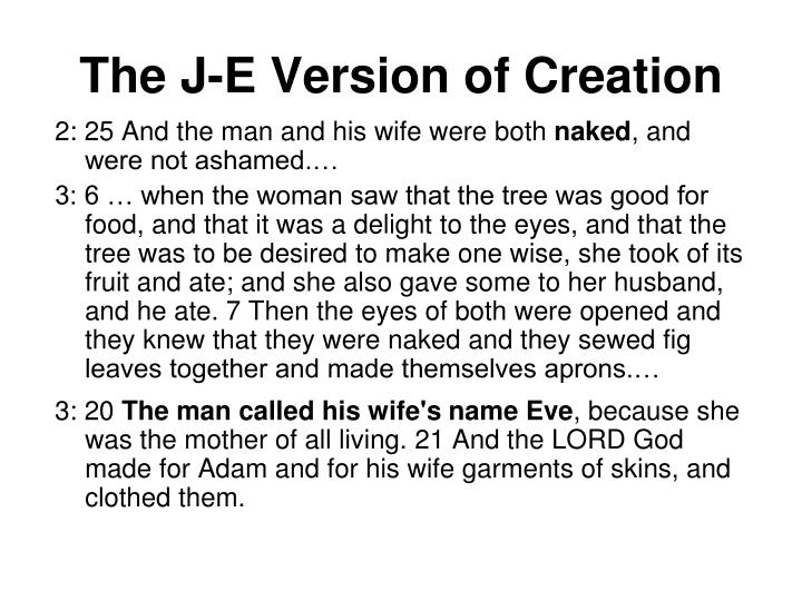 The J-E Version of Creation
