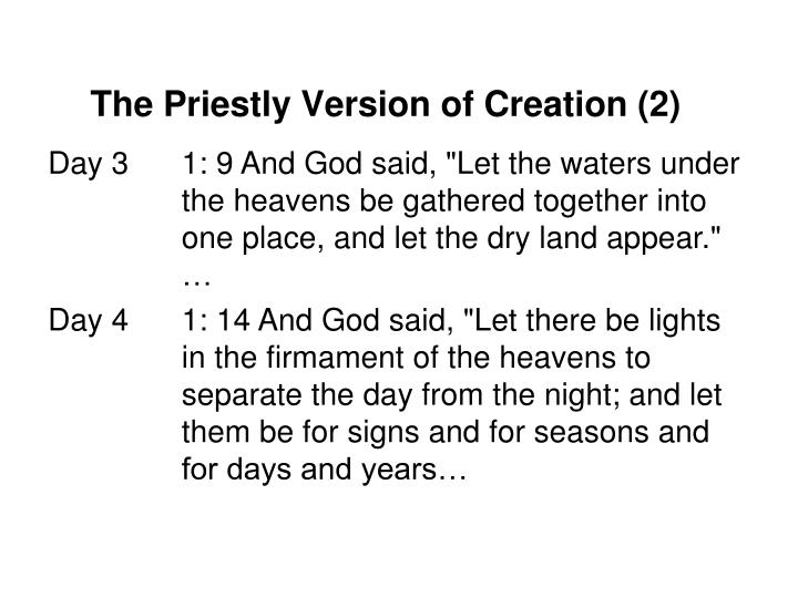 The Priestly Version of Creation (2)