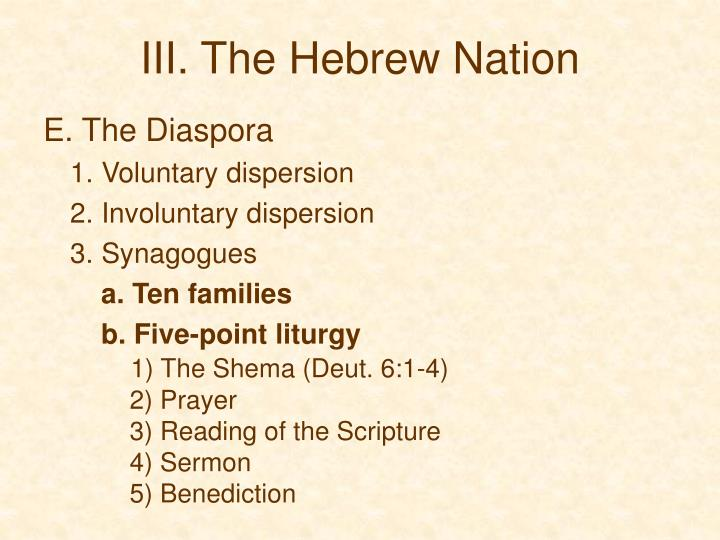 III. The Hebrew Nation
