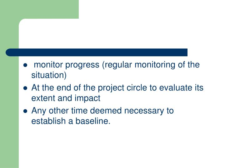 monitor progress (regular monitoring of the situation)