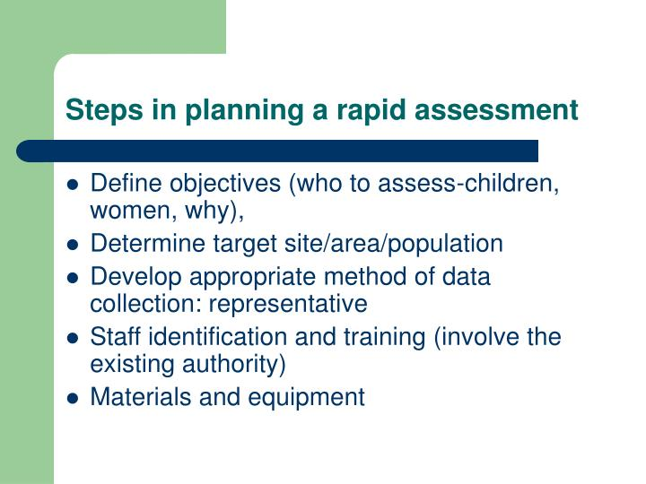 Steps in planning a rapid assessment