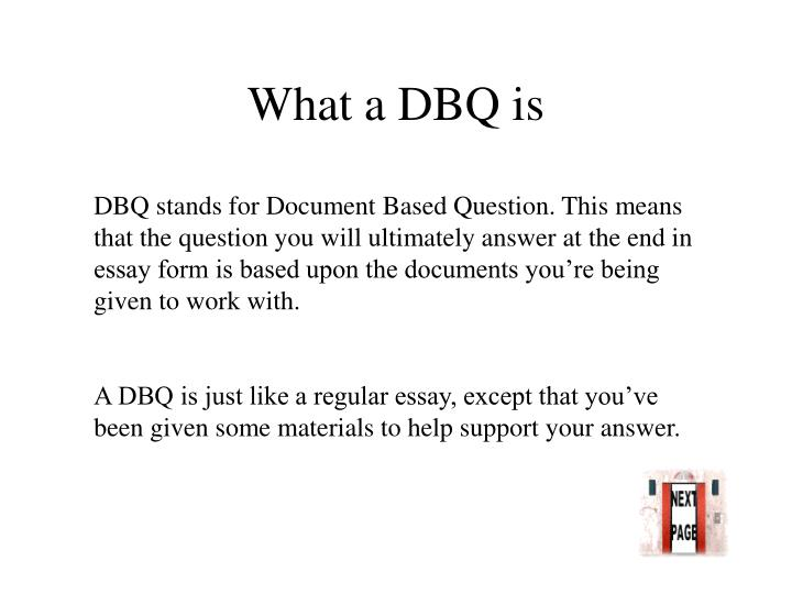 What a DBQ is