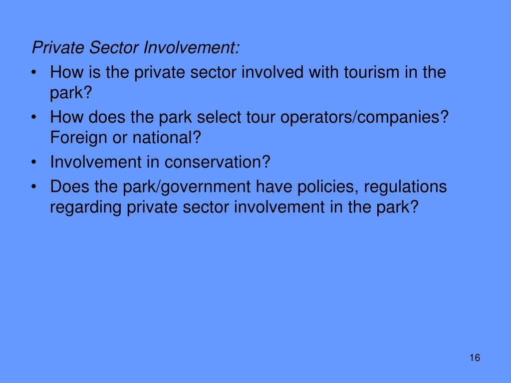 Private Sector Involvement: