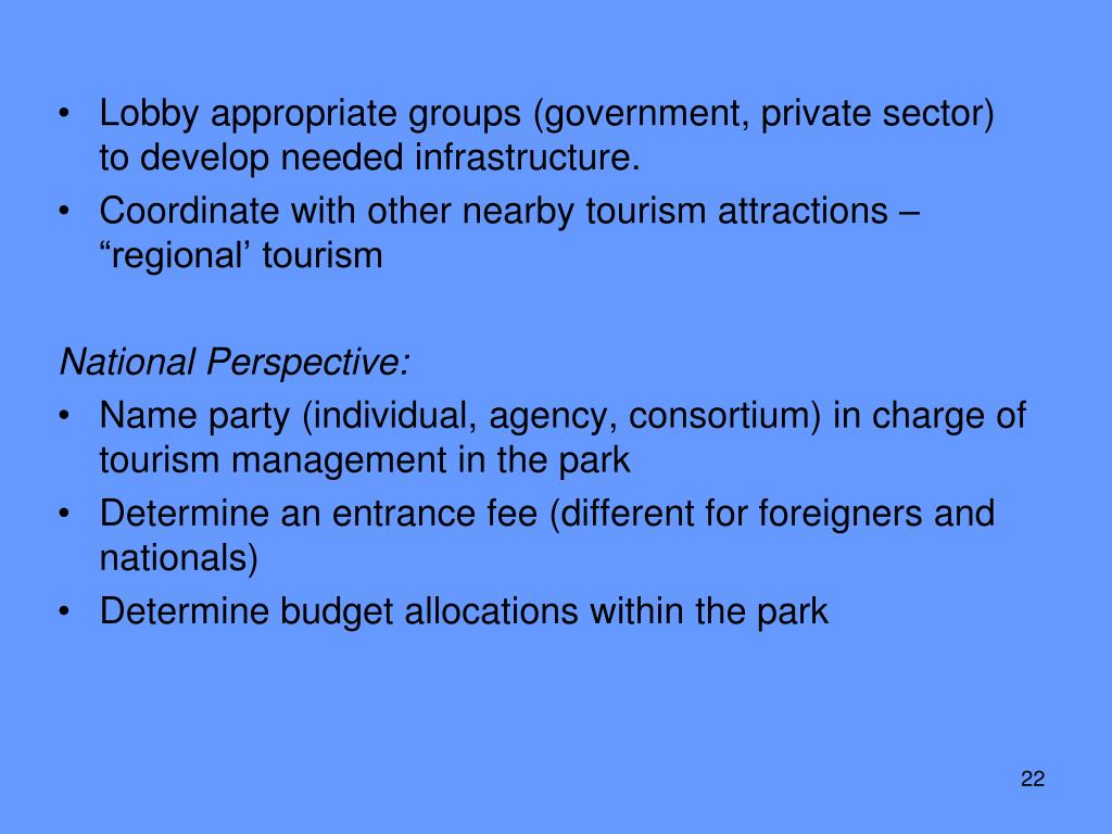 Lobby appropriate groups (government, private sector) to develop needed infrastructure.